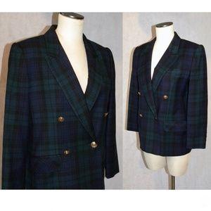 VTG 80s Giorgio Sant Angelo Plaid Wool Blazer Chic